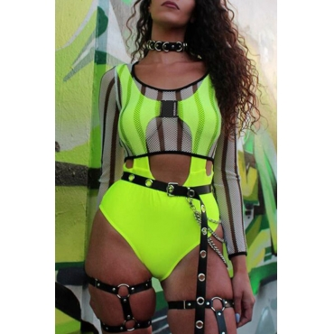 Lovely Sexy Hollow-out Green One-piece Bodysuit