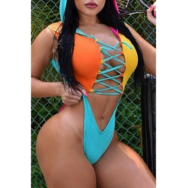 Lovely Patchwork Hollow-out Multicolor One-piece Swimwear