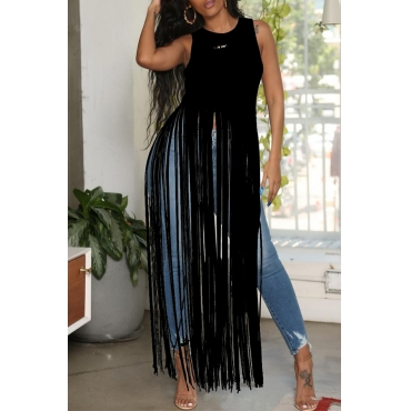 Lovely Chic Tassel Design Black Blouse