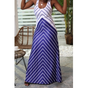 Lovely Casual U Neck Striped Blue Floor Length Dress