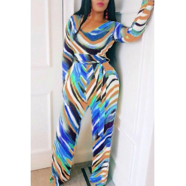 Lovely Casual Striped Printed Lace-up Blue One-piece Jumpsuit