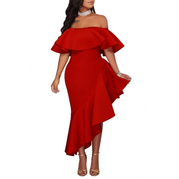 Lovely Stylish One Shoulder Ruffle Design Asymmetrical Red Ankle Length Dress