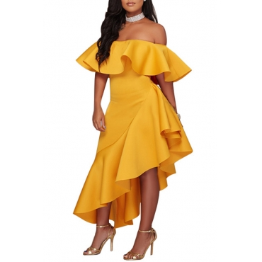Lovely Stylish One Shoulder Ruffle Design Asymmetrical Yellow  Ankle Length Dress