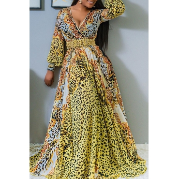 Lovely Casual V Neck Animal Pattern Printed Yellow Floor Length Dress