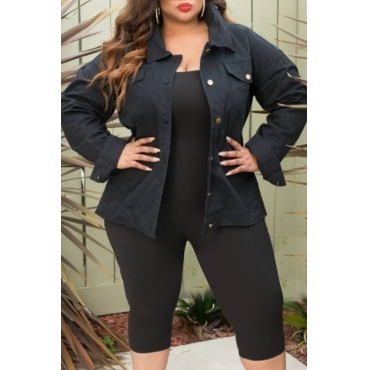Lovely Casual Hollow-out Black Denim Coat