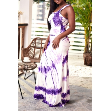 Lovely Casual U Neck Printed Purple Floor Length Dress