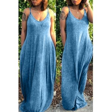 Lovely Casual V Neck Blue Floor Length Dress