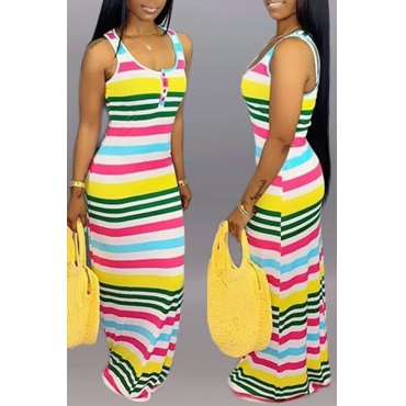 Lovely Casual U Neck Striped Printed Multicolor Floor Length Dress
