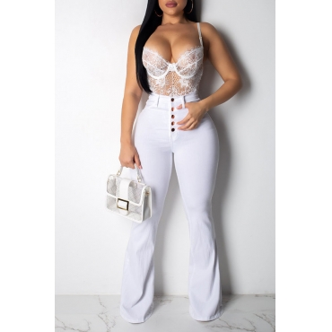 Lovely Stylish High Waist Buttons Design White Jeans