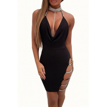 Lovely Sexy Halter V Neck Backless Black Mini Prom Dress