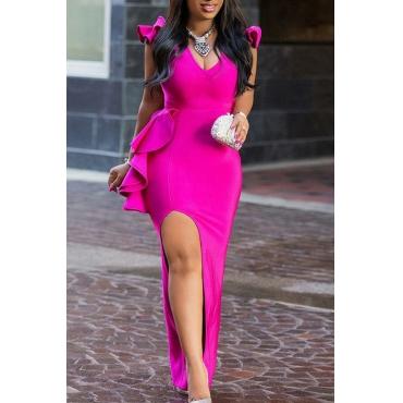 Lovely Sexy V Neck Ruffle Design Side Split Rose Red Ankle Length A Line Prom Dress