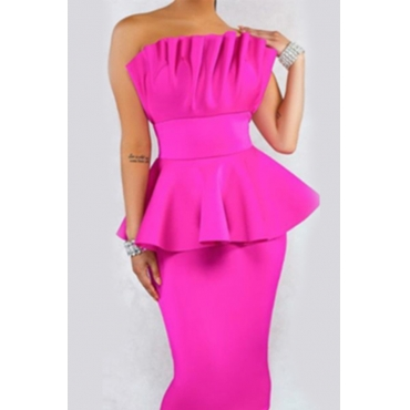 Lovely Sweet Off The Shoulder Ruffle Design Rose Red Knee Length A Line Prom Dress
