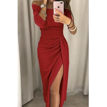 Lovely Stylish Off The Shoulder Asymmetrical Red Mid Calf Prom Dress