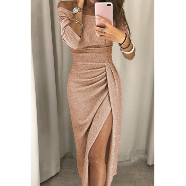 Lovely Stylish Off The Shoulder Asymmetrical Champagne Mid Calf Prom Dress