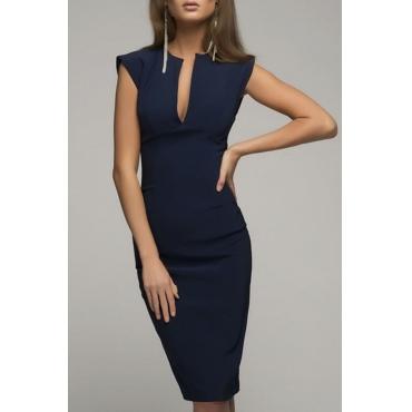 Lovely Stylish V Neck Dark Blue Knee Length OL Dress