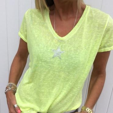 Lovely Casual V Neck Pentagram Printed Yellow T-shirt