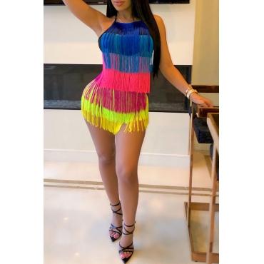 Lovely Sexy Tassel Design Multicolor Mini Dress