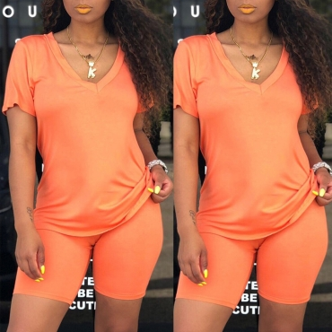 Lovely Casual V Neck Jacinth Two-piece Shorts Set