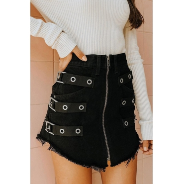 Lovely Stylish Zipper Design Black Mini A Line Skirt