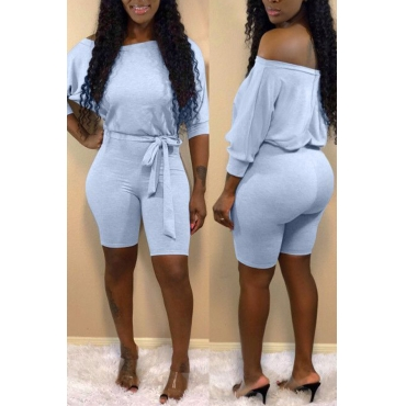 Lovely Casual Off The Shoulder Lace-up Grey One-piece Romper