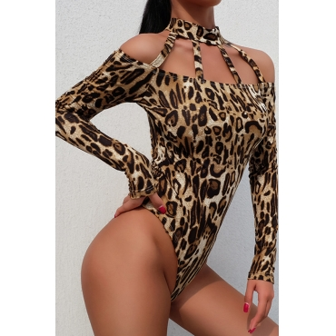 Lovely Sexy Leopard Printed Brown Bodysuit