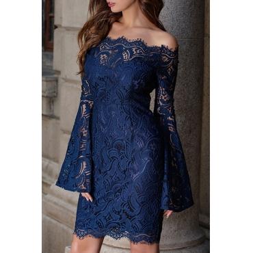 Lovely Elegant Off The Shoulder Lace Trim Patchwork Dark Blue Mini Prom Dress