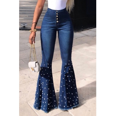 Lovely Casual High Waist Rhinestone Decoration Blue Jeans