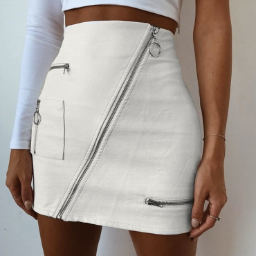 Lovely Casual Zipper Design White Mini A Line Skirt