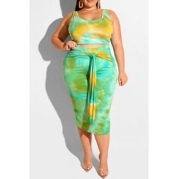 Lovely Casual Tie-dye Lake Blue Plus Size Two-piece Skirt Set