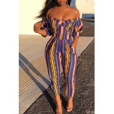 Lovely Stylish Off The Shoulder Striped Multicolor One-piece Jumpsuit