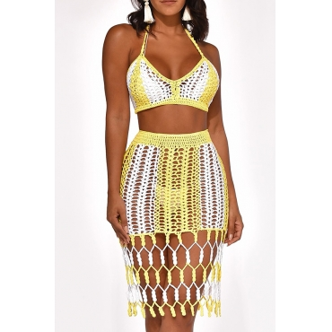 Lovely Sexy Halter V Neck Hollow-out Yellow Two-piece Skirt Set