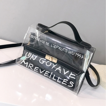 Lovely Stylish See-through Letter Printed Black PU Crossbody Bag