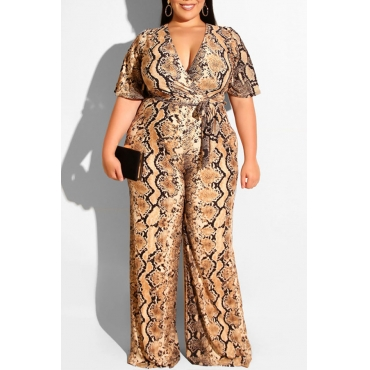 Lovely Casual Snakeskin Pattern Printed Plus Size One-piece Jumpsuit