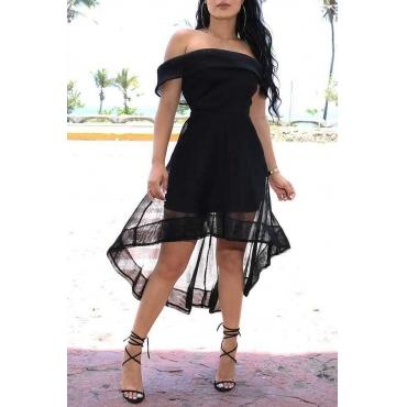 Lovely Chic Off The Shoulder Black Asymmetrical Mid Calf Dress