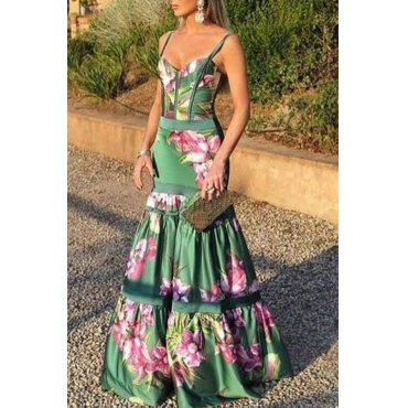 Lovely Party Floral Printed Green Floor Length Prom Dress