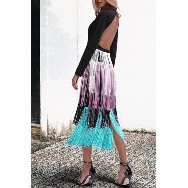 Lovely Sexy Backless Tassel Design Black Mid Calf Dress