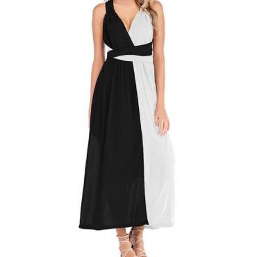 Lovely Casual V Neck Patchwork Black And White Ankle Length OL Dress