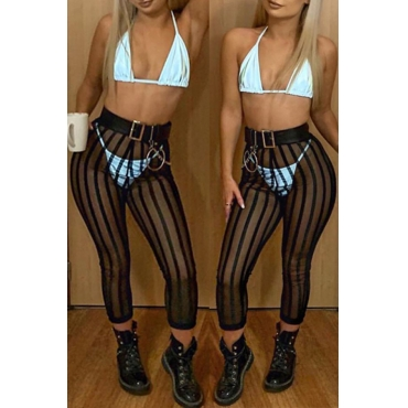 Lovely Sexy See-through Striped Black Pants(Without Lining)