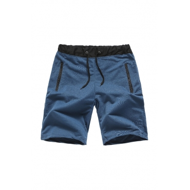 Lovely Casual Patchwork Navy Blue Shorts