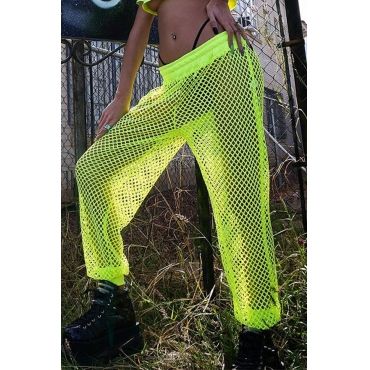 Lovely Trendy Hollow-out Fluorescent Yellow Pants (Without Lining)