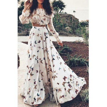 Lovely Casual Butterfly Printed White Two-piece Skirt Set