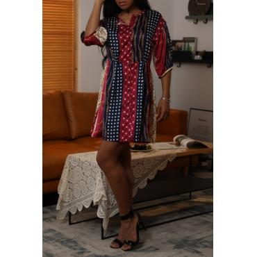 Lovely Stylish O Neck Half Sleeve Printed Multicolor Mini OL Dress
