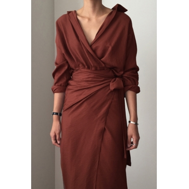 Lovely Casual Turndown Collar Lace-up Brick Red OL Dress