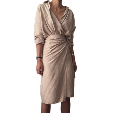 Lovely Casual Turndown Collar Lace-up Beige OL Dress