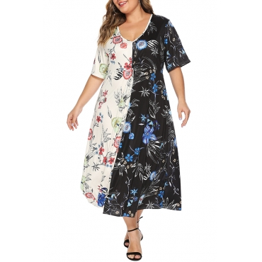 Lovely Stylish V Neck Printed Patchwork Multicolor Mid Calf A Line Dress
