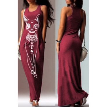 Lovely Casual U Neck Printed Wine Red Floor Length T-shirt Dress