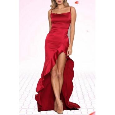 Lovely Elegant Spaghetti Straps Asymmetrical Red Floor Length Prom Dress