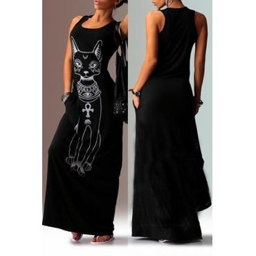 Lovely Casual U Neck Printed Black Floor Length T-shirt Dress