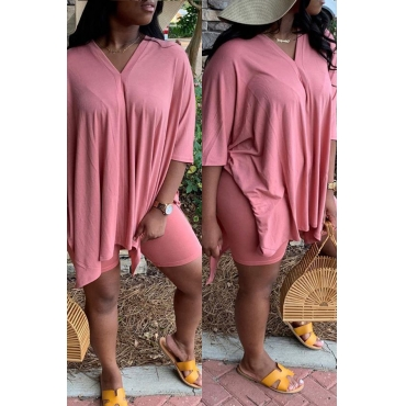Lovely Casual V Neck Pink Two-piece Shorts Set