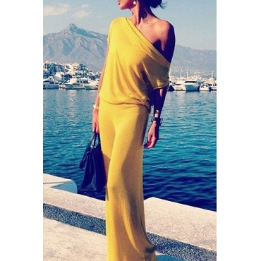 Lovely Casual One Shoulder Yellow Floor Length Dress